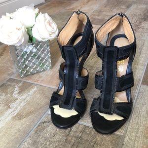 L.A.M.B black leather heels size 9